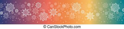 Christmas multicolor composition with a set of beautiful white snowflakes