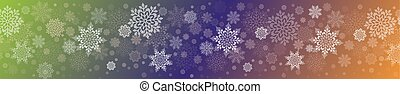 Christmas multicolor composition with a set of graceful white snowflakes