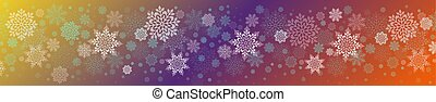 Christmas multicolor illustration with a set of graceful white snowflakes