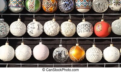 Christmas multicolored balls in a street market