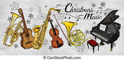 Christmas Music Instruments Painting
