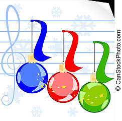 on a white sheet of music paper there are a three Christmas balls