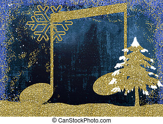 Christmas musicl card - Christmas musical card, musical note...