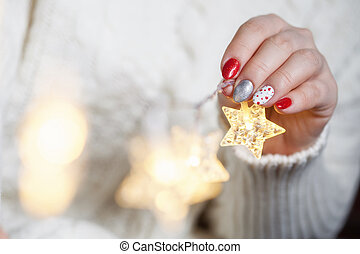 Christmas Nail art manicure. Winter Holiday style bright...