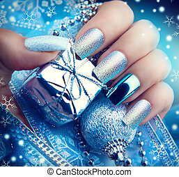 Christmas nail art manicure. Winter holiday style bright ...