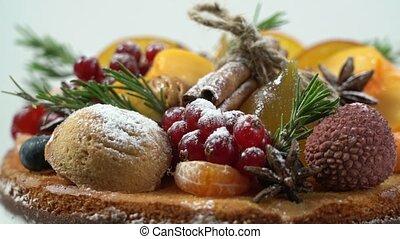 Christmas naked cream frut cake. Close-up