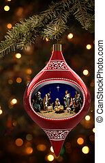 Christmas Nativity - Christmas ornament featuring a diorama...