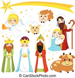 Christmas Nativity Elements - Set collection of isolated...