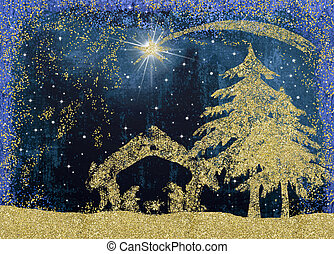 Christmas Nativity greetings cards, Star of Bethlehem and...