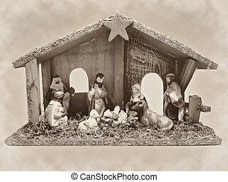 Christmas nativity manger Jesus old