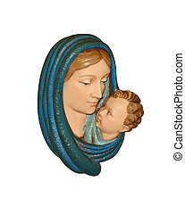Christmas nativity Mother and child, isolated ceramic figure...