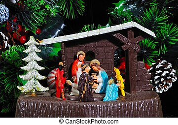 Christmas nativity music box.