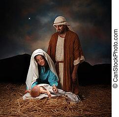 Christmas nativity - Nativity scene with Mary, Joseph and...