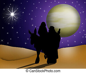 Art, Artistic illustration of modern abstract Christmas journey to Nativity scene on night time background, full moon and stars