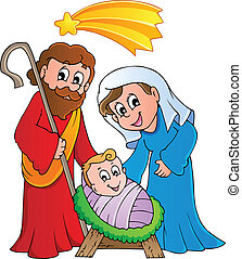 Christmas Nativity scene 1 - vector illustration.
