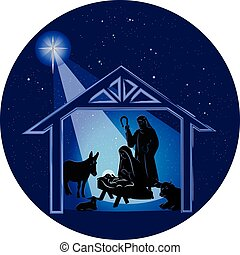 Christmas Nativity Scene at Night - Illustration of the...