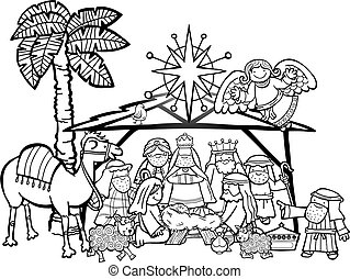 Christmas Nativity Scene - Hand drawn cartoon doodle...