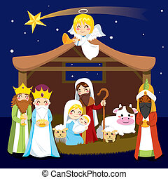 Christmas Nativity Scene - Three wise men bring presents to...