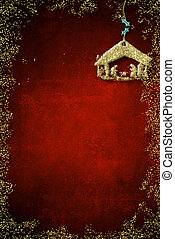 Christmas Nativity Scene greetings cards, abstract freehand drawing of Nativity scene with golden glitter on red background with blank, vertical image.