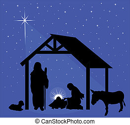 Christmas Nativity Scene - Illustration of the traditional...