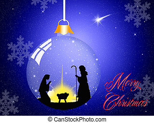 Christmas Nativity scene in the crystal ball