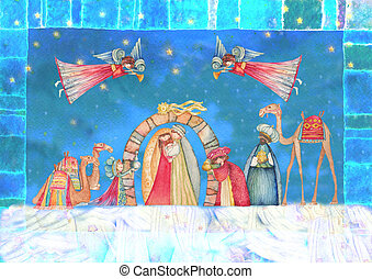 Christmas Nativity scene. Jesus, Mary, Joseph and the Three...
