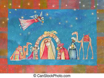 Christmas Nativity scene. Jesus, Mary, Joseph