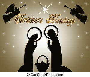 Christmas Nativity Scene modern - Christmas Abstract...