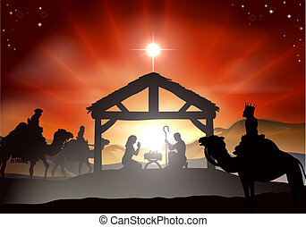 Nativity Christmas scene with baby Jesus in the manger in silhouette, three wise men or kings and star of Bethlehem