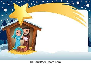 Christmas Nativity Scene Winter Snowy Frame Comete