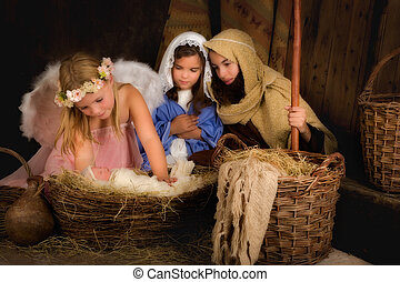 Christmas nativity scene with angel