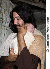 Christmas nativity scene with baby Jesus