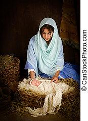 Christmas nativity scene with doll