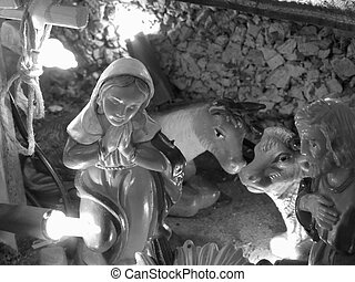 Christmas nativity scene with figurines including Joseph and...