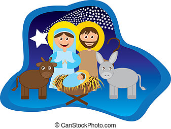 Christmas nativity scene with holy family isolated. vector
