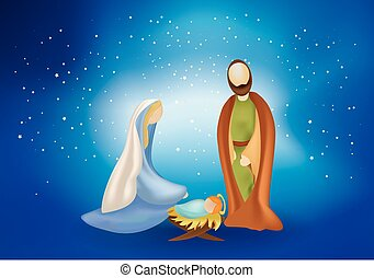 Christmas nativity scene with holy family on blue background