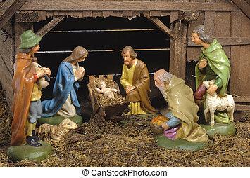 christmas nativity scene with jesus, joseph and mary in bethlehem
