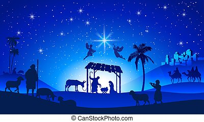 Christmas Nativity Scene with Manger Silhouette