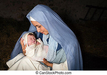 Christmas nativity scene with mother Mary