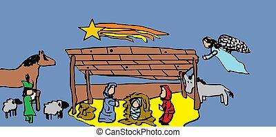 Christmas Nativity scenes.