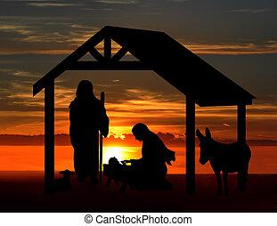 Christmas Nativity Sunset Scene - Christmas nativity scene,...