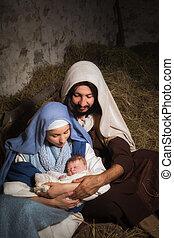 Christmas nativity with baby Jesus