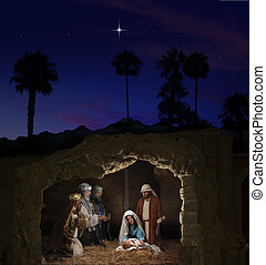 Christmas Nativity with Mary, Joseph, the Three Wise Men and...