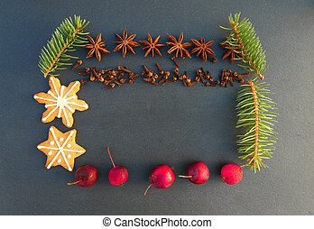 Christmas natural frame decoration. Spruce tree branches, ...