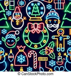 Christmas Neon Seamless Pattern