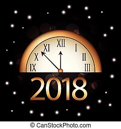 christmas new year 2018 golden clock and bright black background