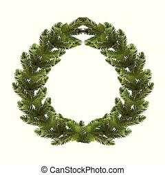 Christmas, New Year. A green branch of spruce in the form of a Christmas wreath with cones. on a white background. illustration