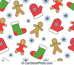 Christmas (new year) background, seamless pattern....