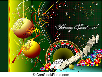 Christmas - New Year background with casino elements. Vector