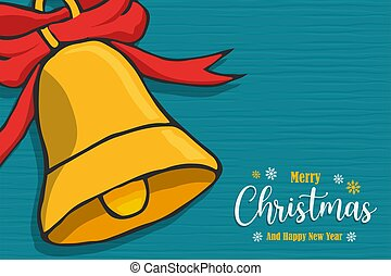 Christmas New Year bell ornament cartoon card